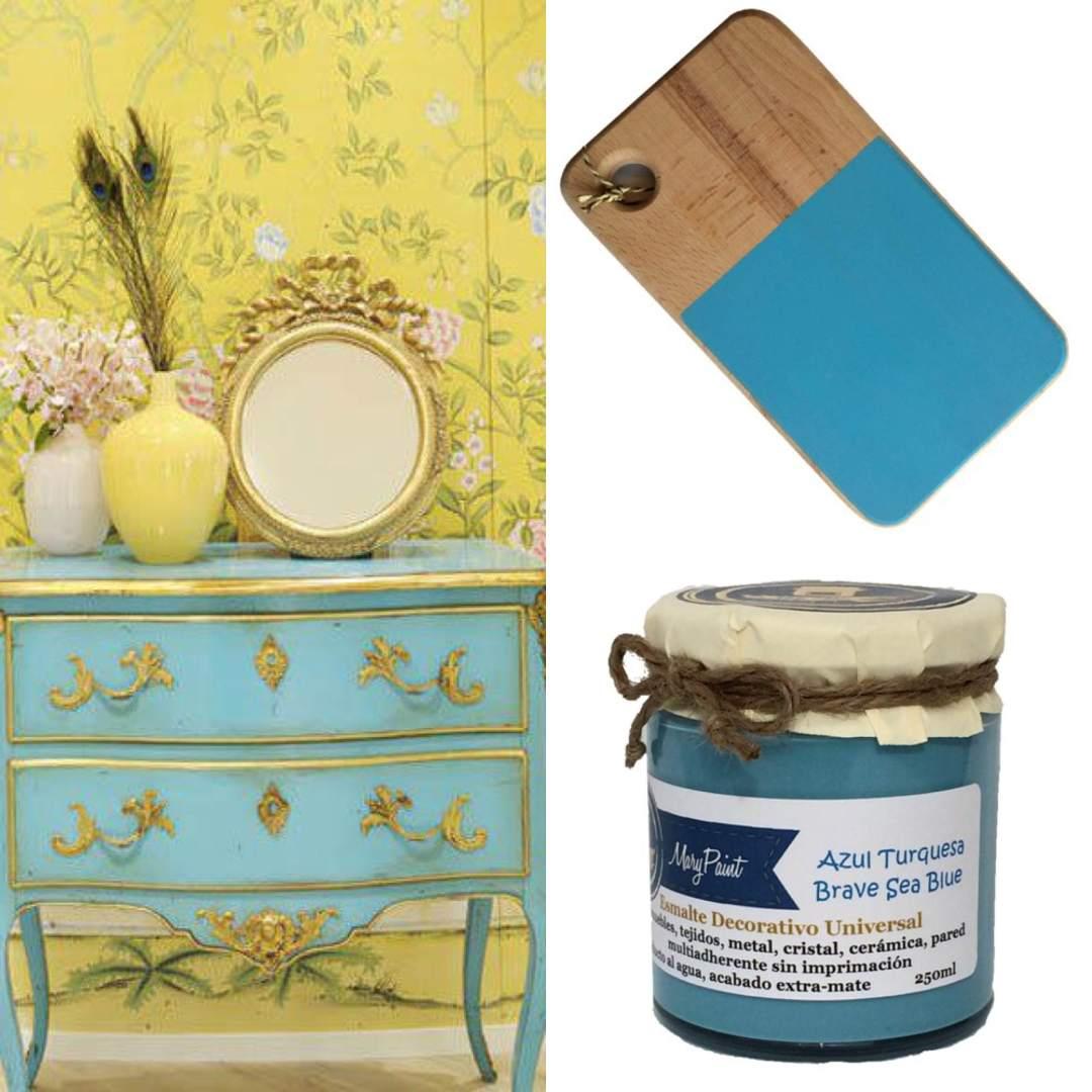 pintar muebles azul turquesa, marypaint