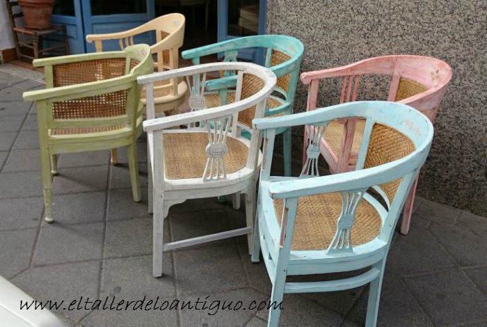 Shabby chic pintar sillones de colores el taller de - Muebles naturales para pintar ...