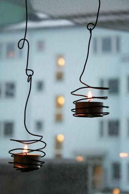 decora con velas y alambre