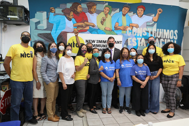 In August 2021, Secretary Marty Walsh visited the New Immigrant Community Empowerment in New York, an organization that has used Susan Harwood grant funds to provide safety and health training to immigrant workers. NY Nail Salon Workers Training School Instructor Blanca Vidal is fifth from the left and NYCOSH Executive Director Charlene Obernauer is third from the left.