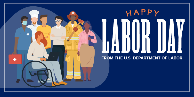 """Dark blue background with illustrated workers representing different occupations. The text reads """"Happy Labor Day from the U.S. Department of Labor."""""""