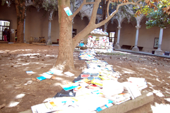 A river of 5,000 books laid out across the cloister of Sant Domènec de Vic, which now houses the School of Art and Design, for the 30th anniversary of Eumo Editorial, 23 April 2009