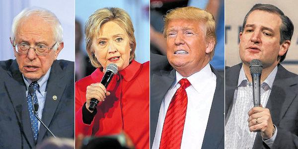 De izquierda a derecha: Bernie Sanders, Hillary Clinton, Donald Trump y Ted Cruz.