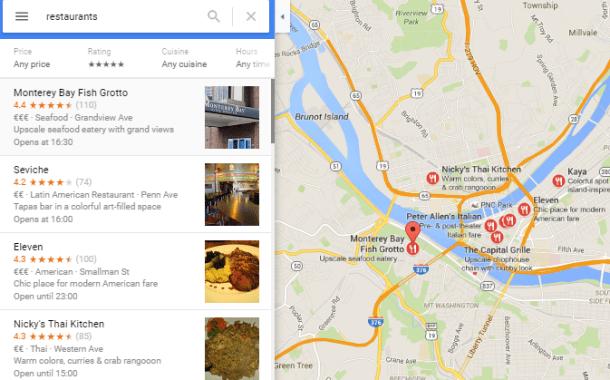 Reserva en restaurantes desde la aplicación de Google Maps.