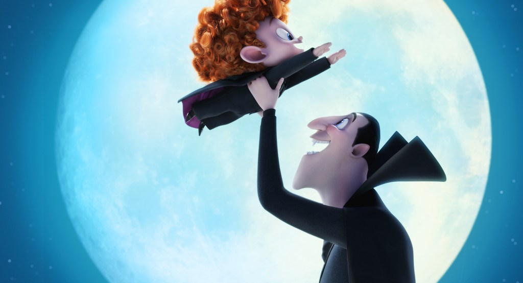 Dennis (Asher Blinkoff) and Dracula (Adam Sandler) in Columbia Pictures and Sony Pictures Animations' HOTEL TRANSYLVANIA 2.