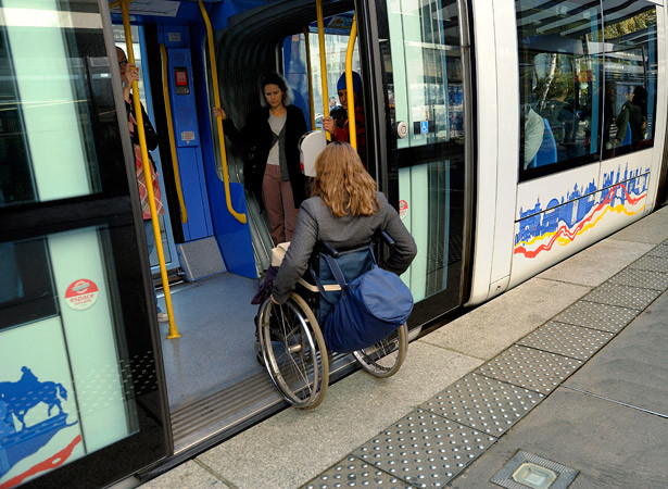 Wheelchair entering public transport
