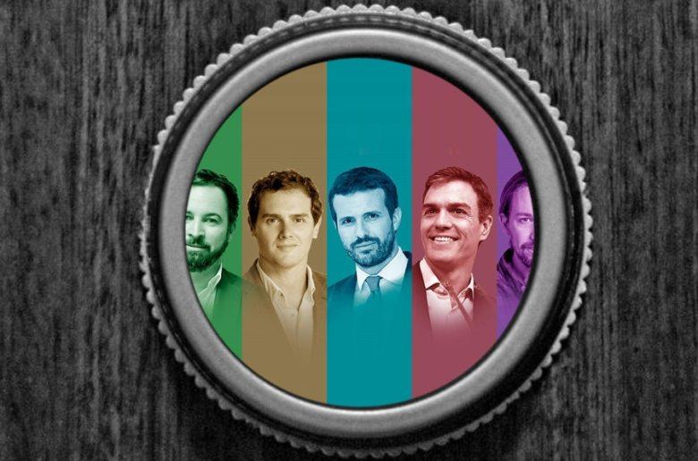 El lado más personas de los principales lideres de los partidos políticos en España