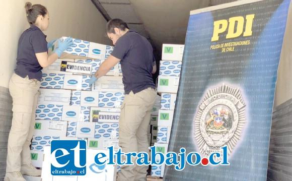 Un total de 168 cajas de carne sellada al vacío, avaluadas en más de $35 millones, fueron recuperadas por personal de la Policía de Investigaciones.