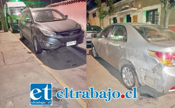 A la izquierda el vehículo en que el imputado circulaba en estado de ebriedad. Al lado el taxi ejecutivo estacionado en calle San Martín, frente el Nº 683 en Putaendo, resultó con daños en su carrocería.