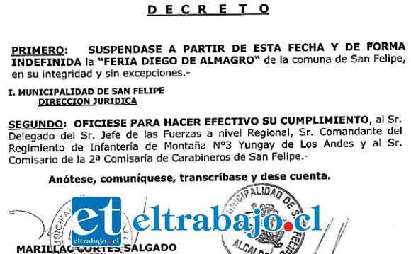 NO MÁS FERIA.- Este es el Decreto Municipal con el que se suspende de manera indefinida la Feria Diego de Almagro.