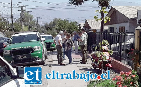 Carabineros de San Felipe manejaron la escena del crímen en coordinación de BH de Los Andes.