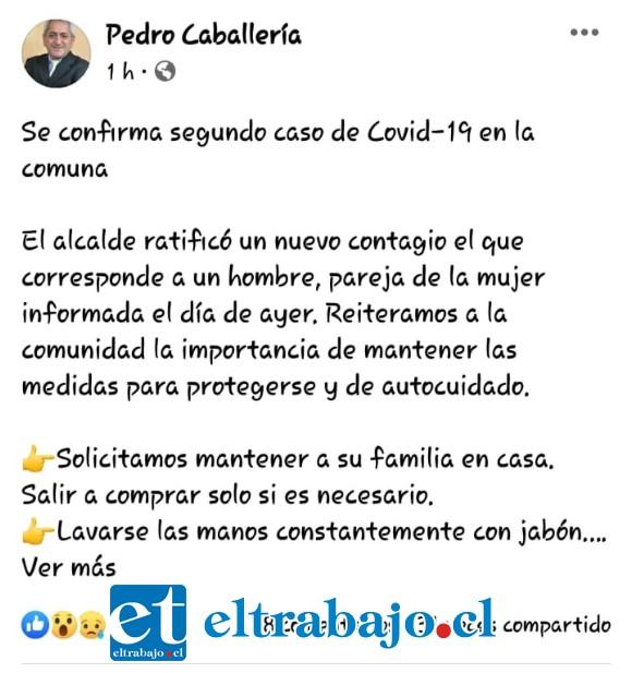 En la imagen de su cuenta personal del Facebook, el alcalde Caballería da a conocer el nuevo caso, el cual no fue ingresado en la cuenta diaria del Seremi de Salud.