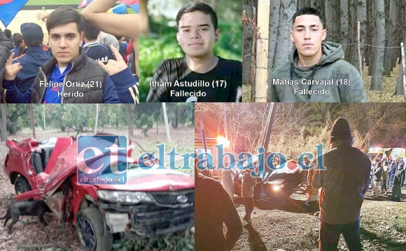 Literalmente 'abrazado a un poste' quedó el automóvil tras el accidente que la noche de este domingo costó la vida a dos jóvenes y dejó a un tercero gravemente herido en el sector Lo Campo de Panquehue. Las víctimas fatales, Itham Astudillo Figueroa (17) y Matías Carvajal Aravena (18), fallecieron en el mismo lugar del accidente, en tanto Felipe Ortiz Guajardo (21), resultó gravemente herido.