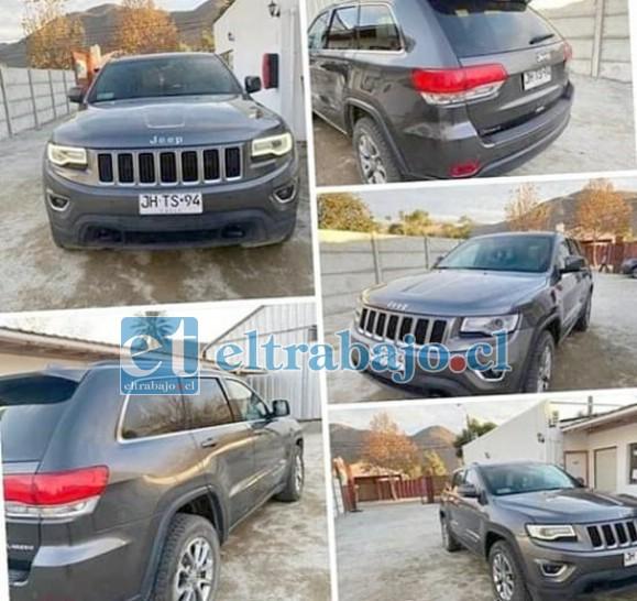 Este es el Jeep que en cuestión de minutos fue robado a una empresaria de Putaendo.