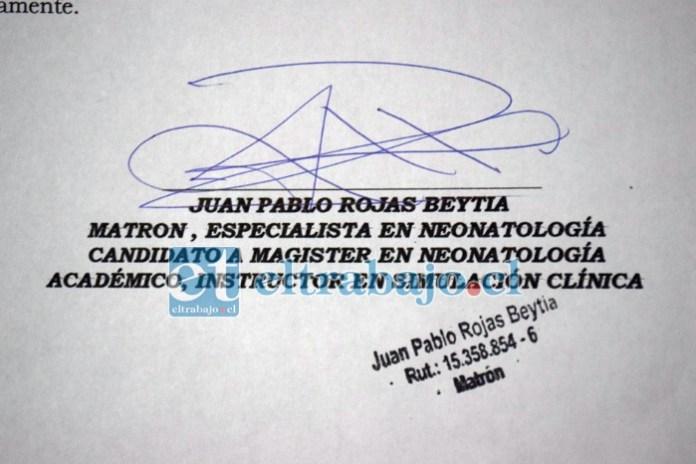 INFORME ESPECIAL.- Nuestro medio solicitó al Matrón Juan Pablo Rojas Beytia firmar y timbrar el Informe Especial que está en poder de Diario El Trabajo, y que en las próximas horas sería presentado por parte de la familia de don Bernabé al Servicio de Salud Aconcagua.