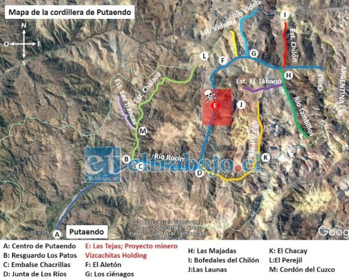 El mapa indica la zona roja donde está desarrollando la empresa minera su actividad.