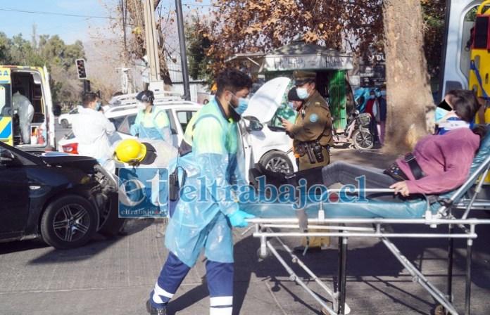 A URGENCIAS.- Esta mujer debió ser trasladada al Hospital San Camilo por personal del SAMU.