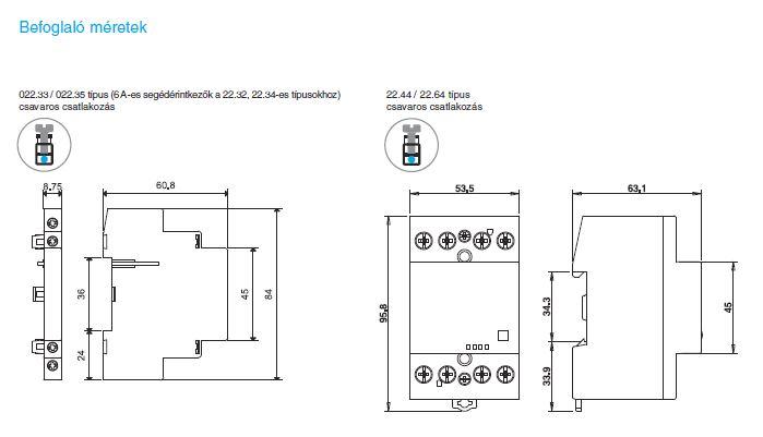 Befoglaló méretek - Finder 22.42 és 22.64 segédérintkezők nélkül/segédérintkezőkkel