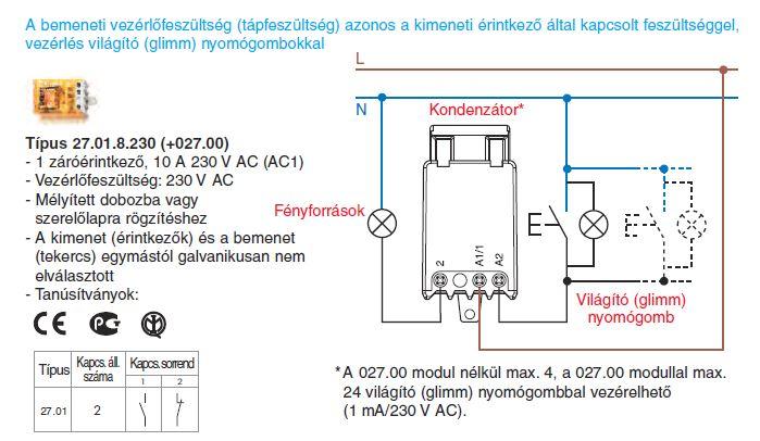 Vezérlés világító nyomógombokkal - Finder 27.01.8.230 (+027.00) léptető-relé, 1 záróérintkező - A bemeneti vezérlőfeszültség (tápfeszültség) azonos a kimeneti érintkezők által kapcsolt feszültséggel