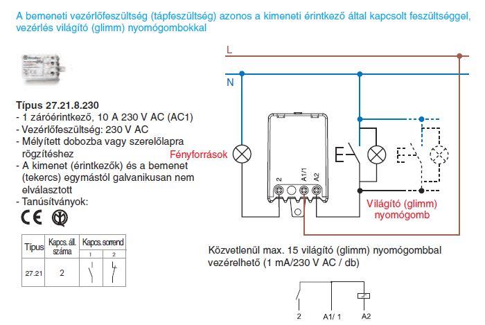 Vezérlés világító nyomógombokkal - Finder 27.21.8.230 léptető-relé, 1 záróérintkező - A bemeneti vezérlőfeszültség (tápfeszültség) azonos a kimeneti érintkezők által kapcsolt feszültséggel