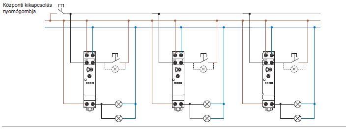A Finder 13.61-es típusú impulzuskapcsolók (impulzusrelék) párhuzamos kapcsolása 4-vezetékes bekötéssel, központi kikapcsolási lehetőséggel: