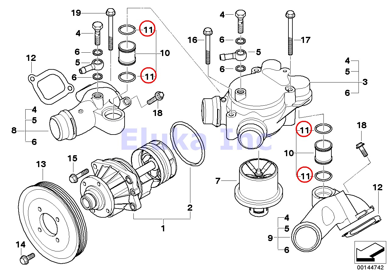 4 X Bmw Genuine Engine Block To Return Pipe O Ring