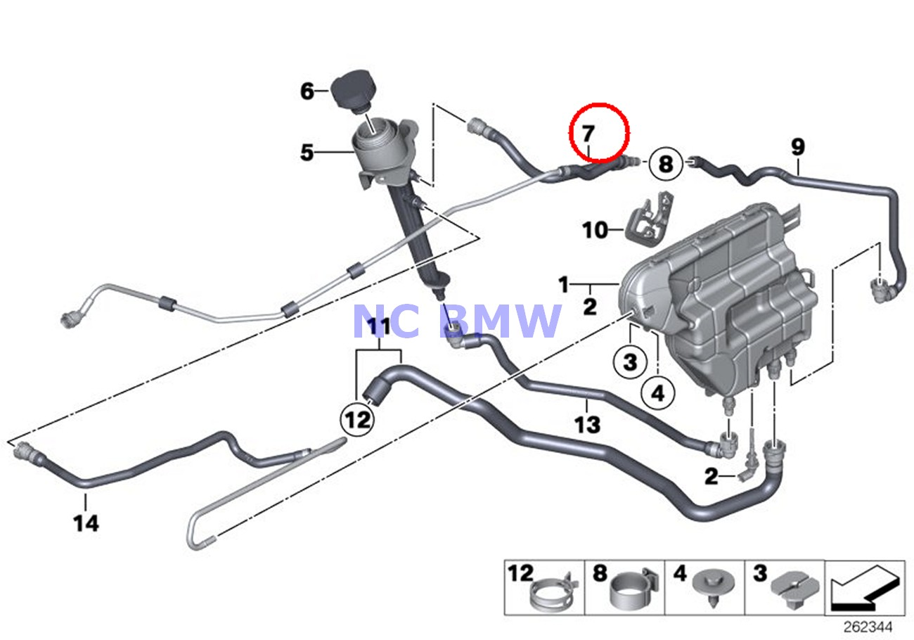 Bmw Genuine Cooling System Expansion Tank Coolant Hoses
