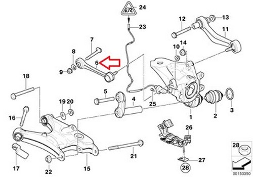2 X BMW OEM Guide Link for Rear Axle Wheel Carrier E53 33