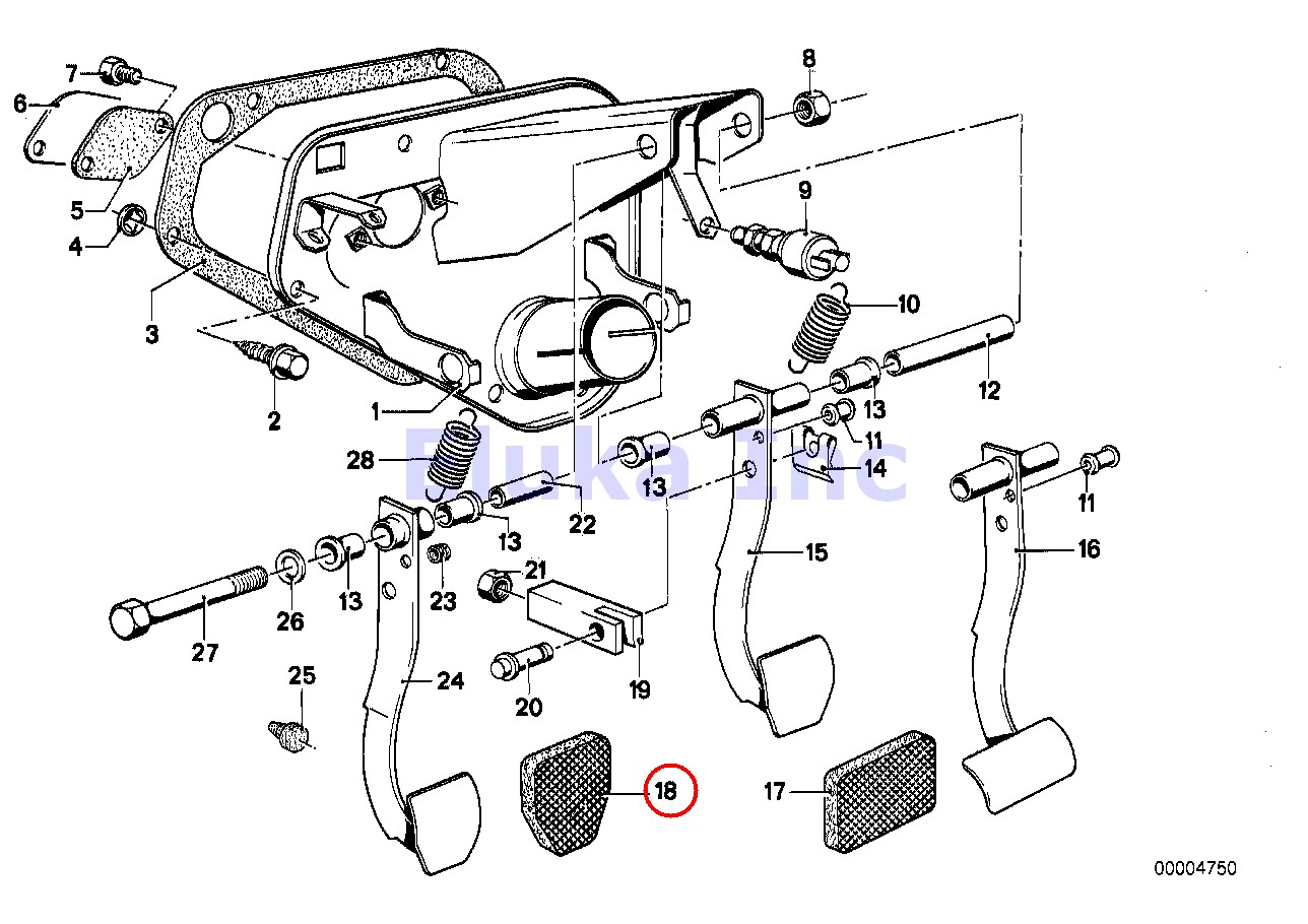BMW Genuine Manual Transmission Clutch Pedal Pad E12 E21