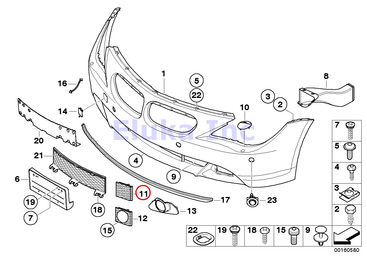 Bmw Genuine Bumper Cover Grille Front Left Front Right