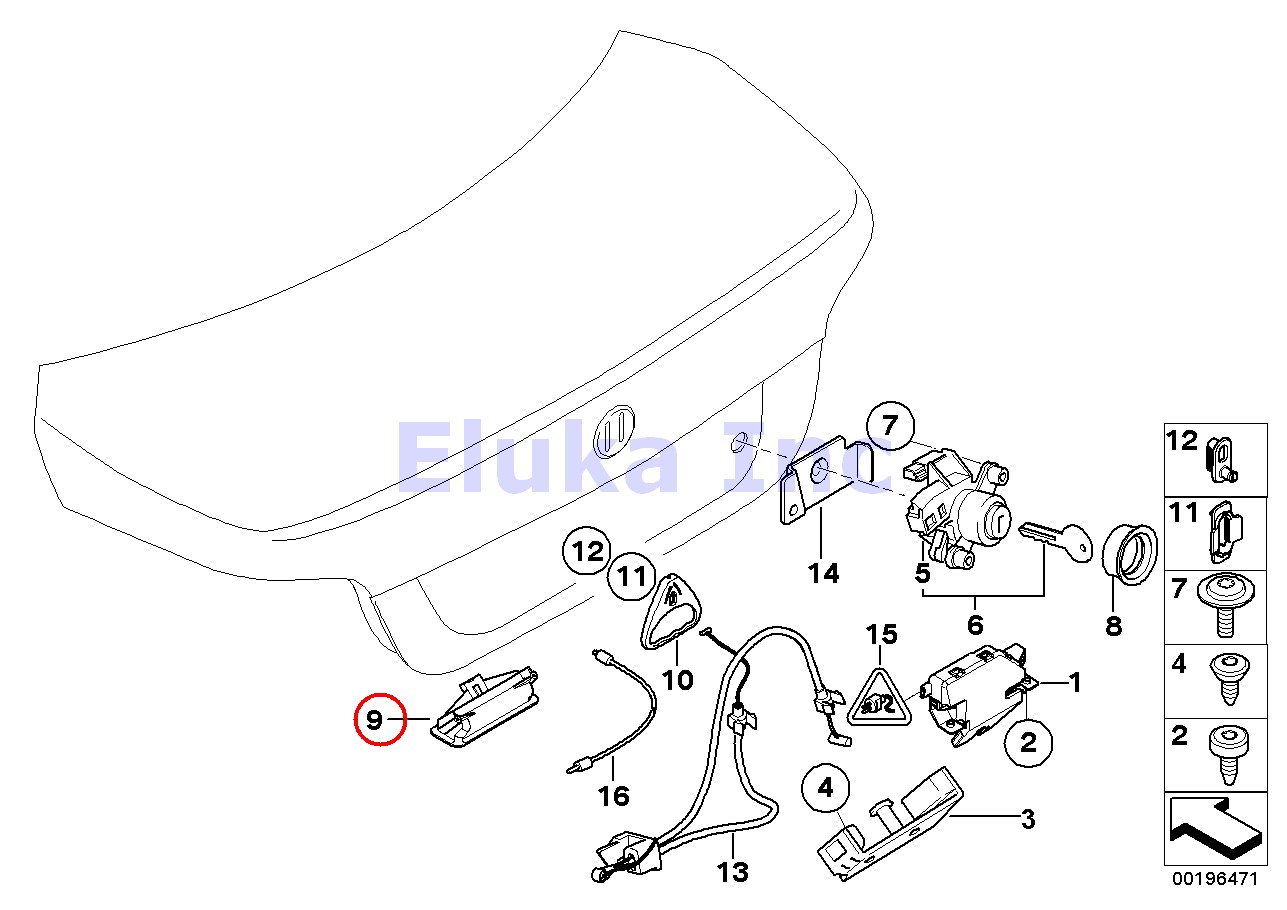 BMW Genuine Trunk Lid Closing System Trunk Lock Push