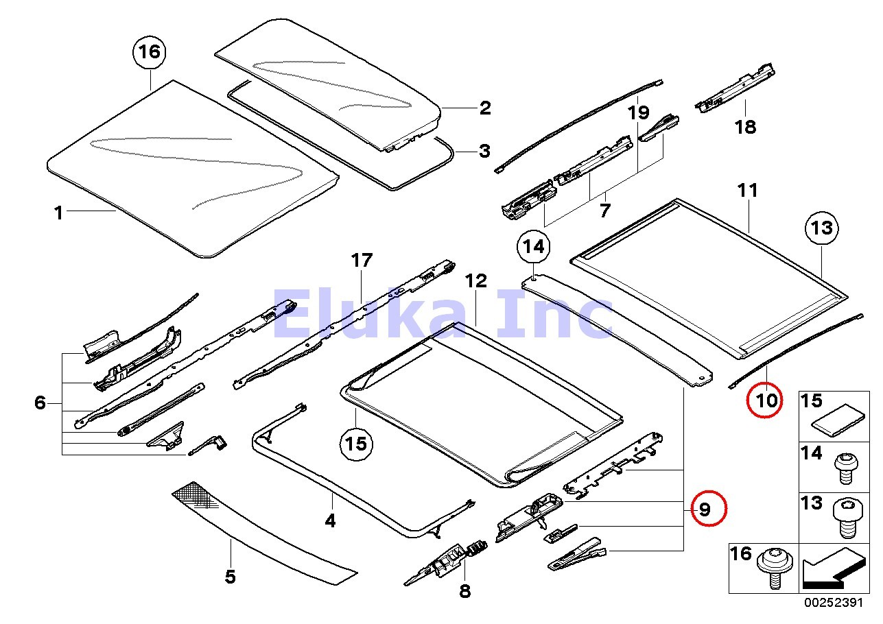 BMW Genuine Front & Rear Sunroof Repair Kit For Sunroof