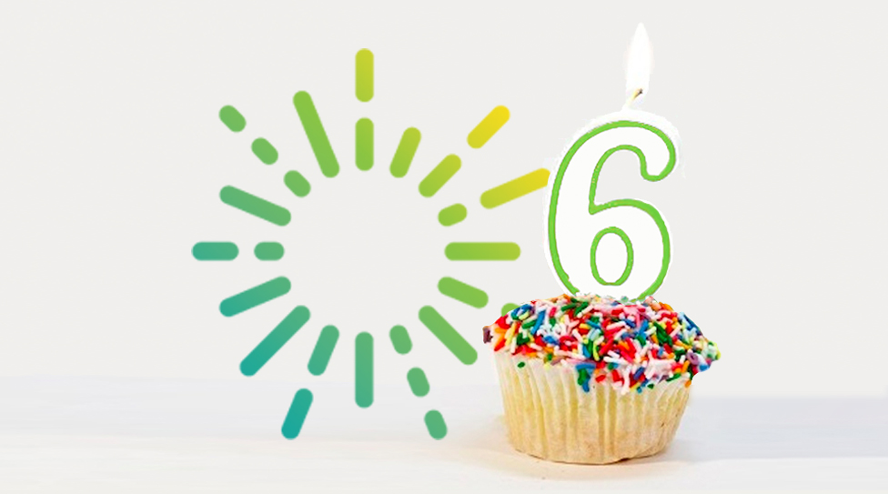 Cupcake with a number 6 candle