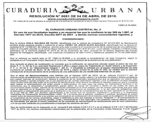 Licencia publicada en la web de la Curaduría 2