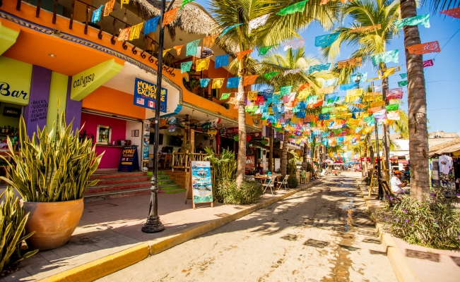 Cobbled street from the village of Sayulita