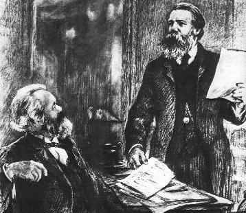 Marx y Engels en despacho
