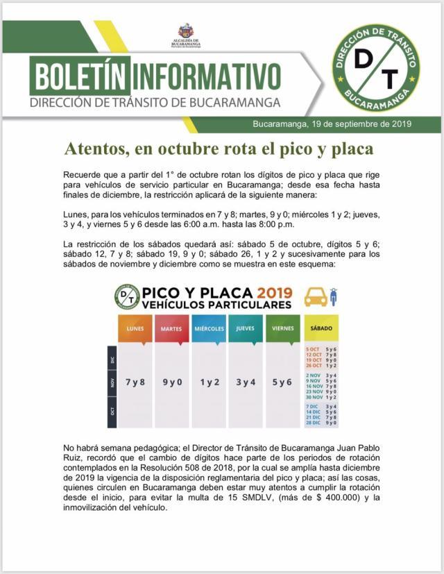 Pico y placa en bucaramanga 2019