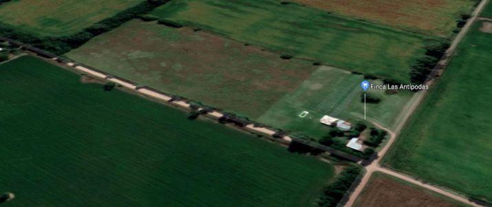 Vista aérea del predio de 6 has. donde se encuentra Finca Las Antípodas