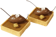 postre cremoso de chocolate con peras cocidas
