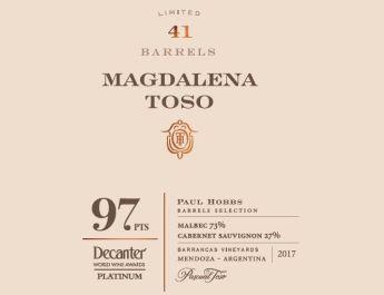 Pascual Toso obtuvo 97 puntos en los Decanter World Wine Awards