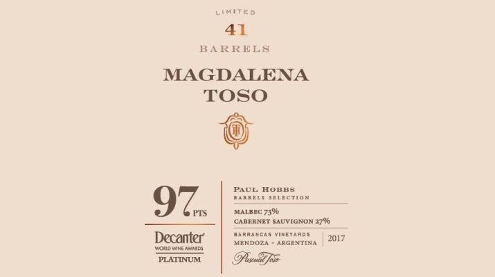 Pascual Toso obtuvo 97 puntos en los Decanter World Wine Awards