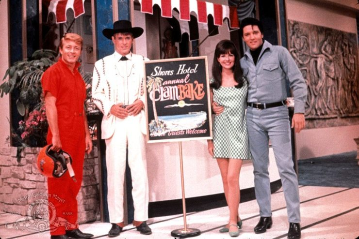 fINAL fOUR: Bill Bixby, Will Hutchins, Shelly Fabares, and Elvis in a publicity photo for the movie CLAMBAKE (1967).