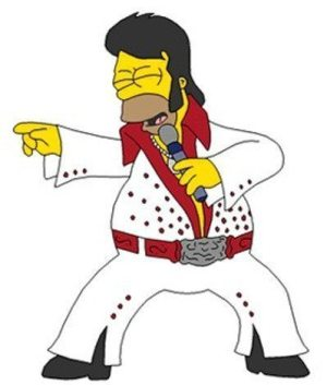 Golden Caricatures Volume 1: drawing of Homer Simpson as Elvis.