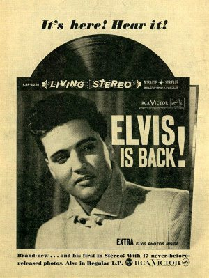 Electronically Reprocessed Stereo: original 1960 ad for ELVIS IS BACK album.