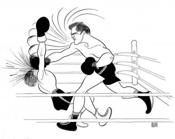 Hirschfeld and Elvis: Hirschfeld's drawing for the 1962 movie KID GALAHAD.