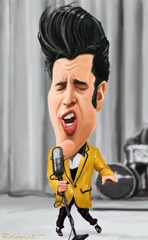 Golden Caricatures Volume 1: caricature of Elvis by Rich Conley.