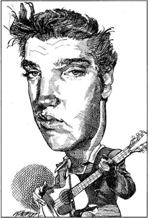 Golden Caricatures Volume 1: caricature of Elvis by Kerry Waghorn.
