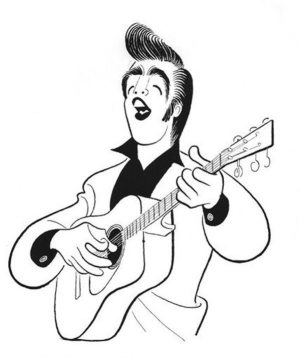 Golden Caricatures Volume 1: drawing of Elvis by Hirschfeld 1956.