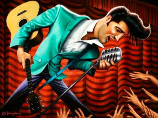 Golden Caricatures Volume 1: caricature of Elvis by David O'Keefe.