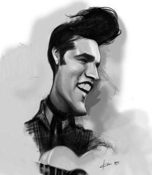 Golden Caricatures Volume 3: caricature of Elvis by Ken Coogan.